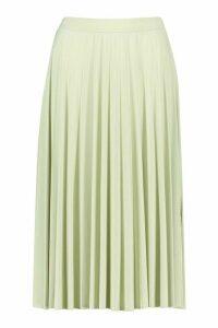 Womens Pleated Full Midi Skirt - Green - 16, Green