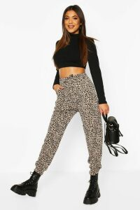 Womens Leopard Loopback Relaxed Fit Joggers - multi - 16, Multi