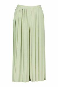 Womens Pleated Wide Leg Trousers - Green - 16, Green