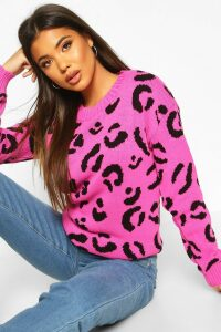 Womens Leopard Knitted Jumper - Pink - S, Pink