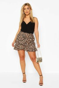 Womens Plus Leopard Print Ruffle Skater Skirt - Brown - 16, Brown