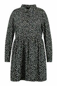Womens Plus Polka Dot Shirt Smock Dress - black - 20, Black