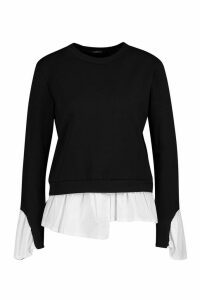 Womens Petite Layered Shirt Sweat Top - black - M, Black