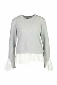 Womens Petite Layered Shirt Sweat Top - grey - M, Grey