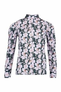 Womens Tall Floral Print Puff Sleeve Blouse - Green - 16, Green