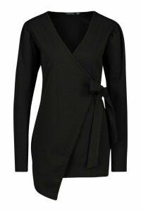 Womens Tall Puff Sleeve Belted Blazer - Black - 10, Black