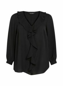 Black Frill Long Sleeve Top, Black