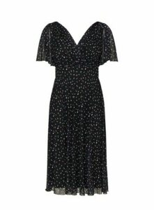 **Scarlett & Jo Navy Mesh Detail Midi Dress, Navy