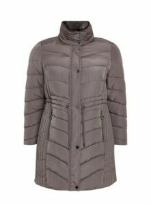 Grey Funnel Neck Padded Coat, Grey