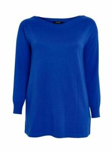 Blue Zip Shoulder Detail Jumper, Cobalt