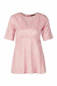 Womens Petite Leopard Print Volume Sleeve Top - Pink - 14, Pink
