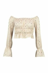 Womens Petite Polka Dot Puff Sleeve Crop Top - beige - 6, Beige
