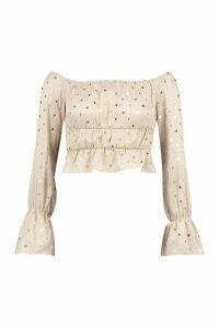 Womens Petite Polka Dot Puff Sleeve Crop Top - beige - 14, Beige