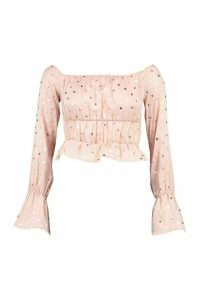Womens Petite Polka Dot Puff Sleeve Crop Top - Pink - 12, Pink