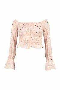 Womens Petite Polka Dot Puff Sleeve Crop Top - Pink - 12, Pink