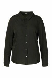 Womens Plus Button Through Shirt - black - 20, Black