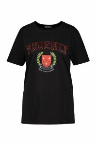 Womens Plus Phoenix Slogan T-Shirt - Black - 16, Black