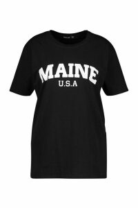 Womens Plus Maine Slogan T-shirt - black - 24, Black