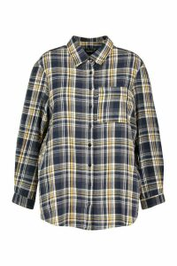 Womens Plus Check Oversized Shirt - blue - 20, Blue