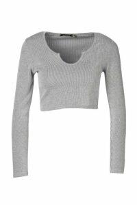 Womens Petite Contrast Rib Notch Neck Long Sleeve Top - Grey - 14, Grey