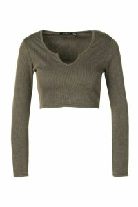 Womens Petite Contrast Rib Notch Neck Long Sleeve Top - Green - 14, Green
