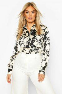 Womens Plus Floral Satin Utility Shirt - black - 20, Black