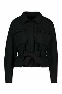 Womens Petite Utility Belted Shirt Jacket - black - 14, Black