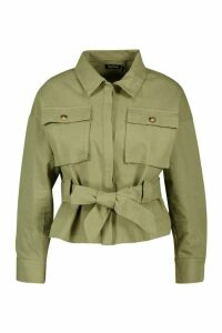 Womens Petite Utility Belted Shirt Jacket - green - 14, Green