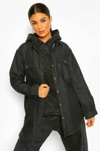 Womens Oversized Denim Shirt - black - 6, Black