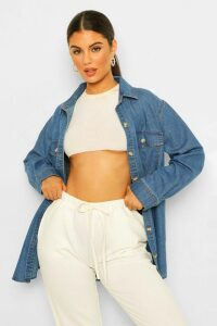 Womens Oversized Denim Shirt - Blue - 12, Blue