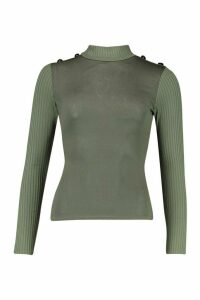 Womens Rib Combo Top With Shoulder Button Detail - green - 14, Green