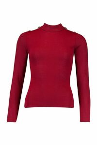 Womens Rib Combo Top With Shoulder Button Detail - red - 14, Red