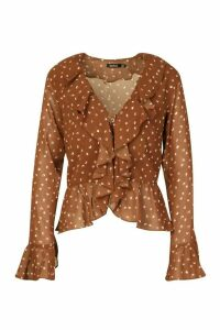 Womens Spot Print Ruffle Blouse - brown - 14, Brown