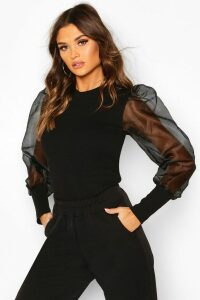 Womens Mesh Organza Puff Sleeve Top - Black - 14, Black