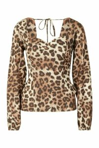 Womens Woven Leopard Sweetheart Long Sleeve Top - brown - 14, Brown
