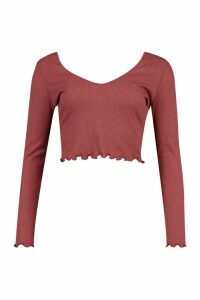 Womens Lettuce Hem V Neck Longsleeve Crop Top - red - 16, Red