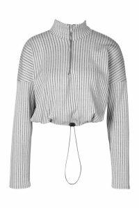 Womens Ribbed Zip Up Draw String Long Sleeve Top - grey - 16, Grey