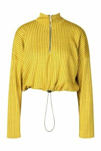 Womens Ribbed Zip Up Draw String Long Sleeve Top - yellow - 16, Yellow