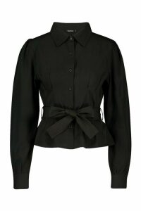 Womens Puff Sleeve Tie Waist Shirt - black - 16, Black