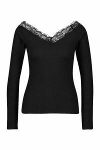 Womens Lace V-Neck Bardot Long Sleeve Top - black - 16, Black
