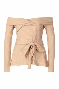 Womens Rib Cross Over Long Sleeve Tie Waist Top - beige - 10, Beige