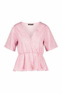 Womens Spot Print Wrap Blouse - Pink - 12, Pink
