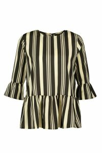 Womens Stripe Frill Sleeve & Hem Smock Top - black - 12, Black