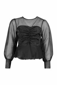 Womens Organza Sleeve Ruched Peplum Woven Blouse - Black - 6, Black