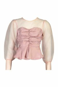 Womens Organza Sleeve Ruched Peplum Woven Blouse - pink - 16, Pink