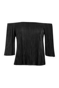 Womens Plisse Off The Shoulder Top - black - 16, Black