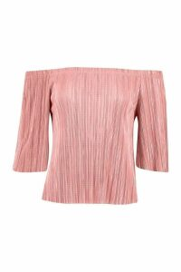 Womens Plisse Off The Shoulder Top - pink - 6, Pink