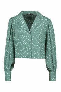 Womens Woven Polka Dot Sleeve Blouse - green - 12, Green