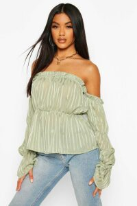 Womens Satin Stripe Off The Shoulder Top - green - 14, Green