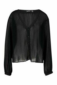 Womens Pleated Button Through Blouse - black - 10, Black